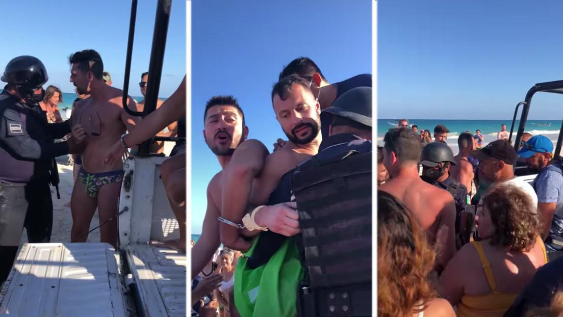 VIDEO: Un grupo de personas en una playa de México evita que se lleven arrestada a una pareja homosexual por besarse en público
