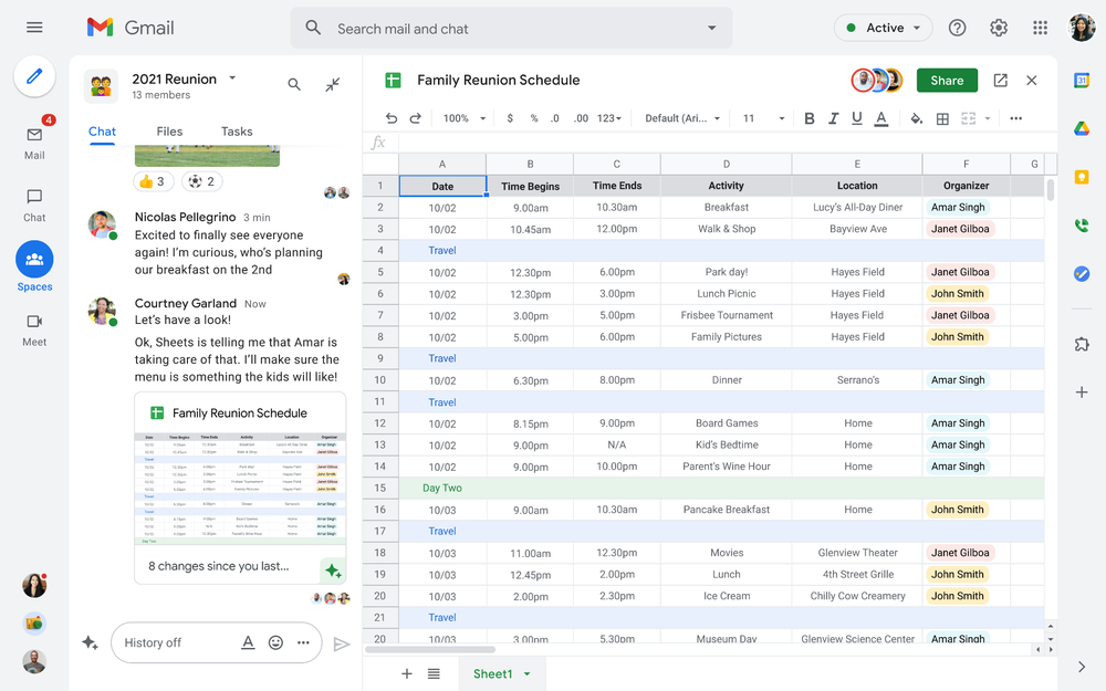 Screenshot of Spaces in Google Workspace, showing a family planning a reunion